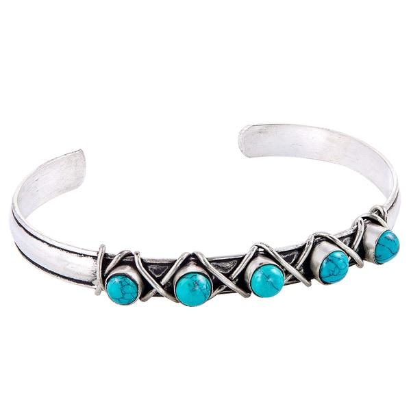 Antique Design Silver Turquoise Cuff Bracelet (Nepal)
