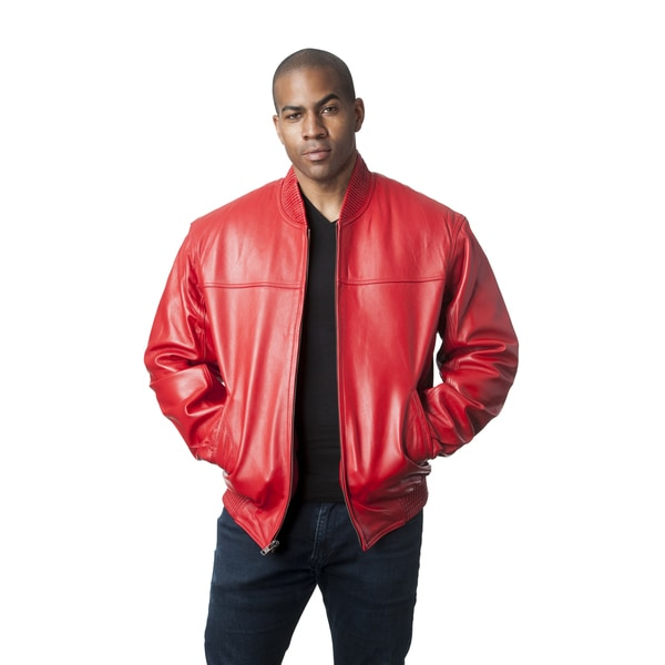 Mason & Cooper Men's Red Leather Bomber Jacket