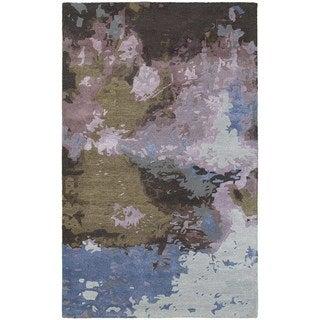 Make a Splash Abstract Blue/ Purple Rug (3' 6 x 5' 6)
