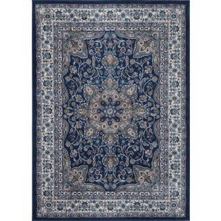 Machine-Made Bronx Navy Ivory Polypropylene Rug (6'6 X 9'6)