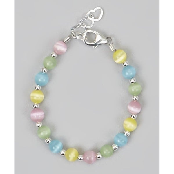 Multi-Colored Sterling Silver Beads Baby Bracelet 19903191