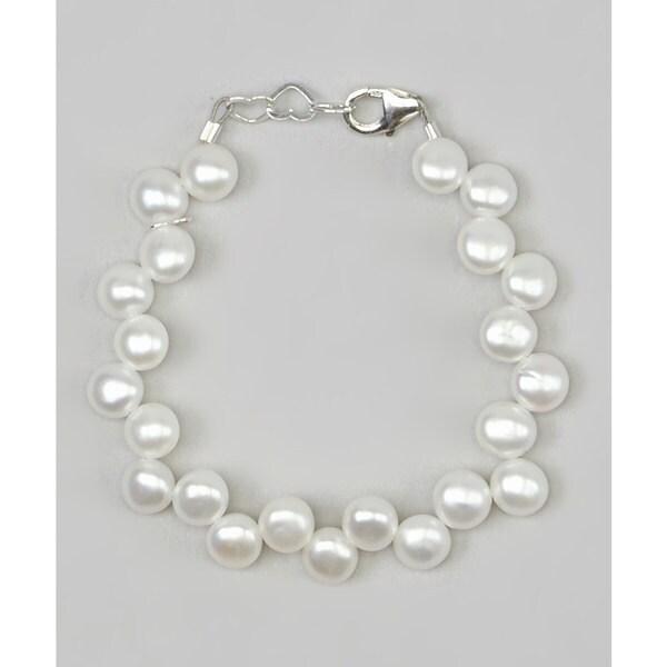 White Flower Girl Baby Bracelet