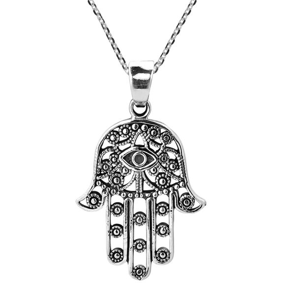 Hamsa Hand of Fatima with Evil Eye Sterling Silver Necklace (Thailand)