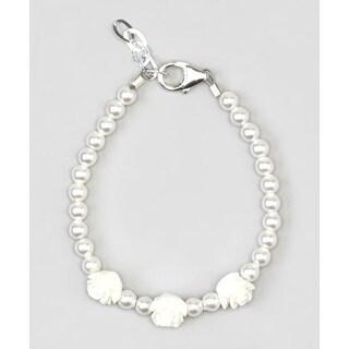 White Flower Girl Baby Bracelet Sterling Silver
