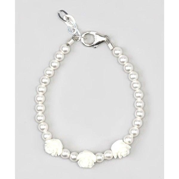 Crystal Dream Sterling Silver White Pearl Flower Girl Baby Bracelet