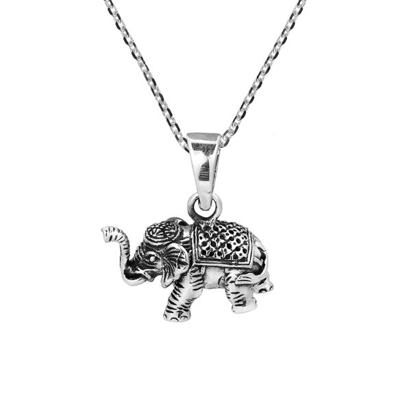 Royal Siamese Elephant 3D .925 Sterling Silver Necklace (Thailand)