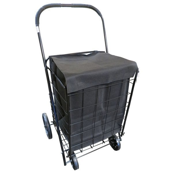 UPT Extra-large Heavy-duty Folding Jumbo Size Shopping Laundry Storage Cart with Matching Black Liner Basket Cart