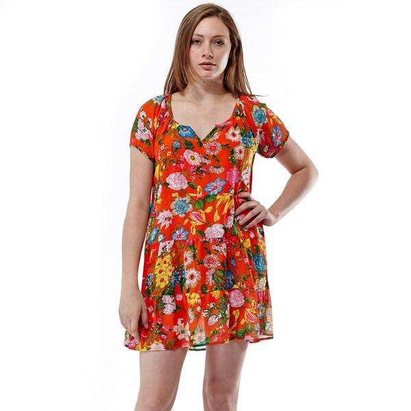 La Cera Women's Floral Print Tiered Short Dress