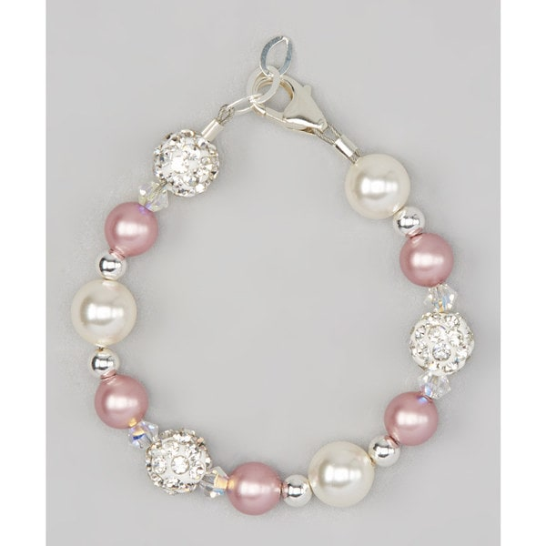 Rose and Ivory Pearls with White Pave Beads Baby Bracelet