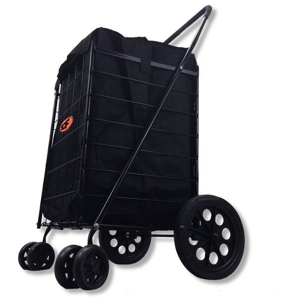 SCF Pivot Wheels Black Utility Cart with 360-degree Spin and Bonus Liner