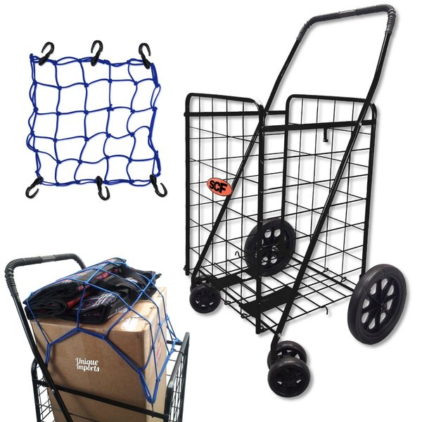 SCF Black 360-degree Pivot Utility Cart With Elastic Cargo Net