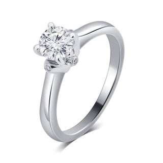 Divina 14K White Gold 1/2ct TDW IGL Certified Diamond Engagement Ring.(G-H,SI-I1)