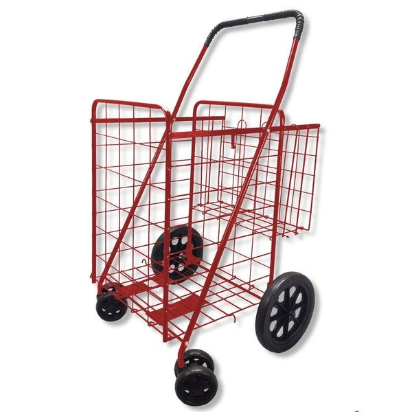 Red Double Basket 360-degree Swivel Wheel Folding Shopping Cart With Cargo Liner