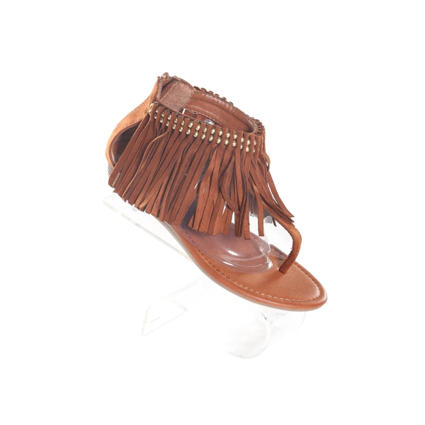 Hadari Women's Brown Thong Slip On Sandals with Decorative Tassle Studded Ankle Zip Strap