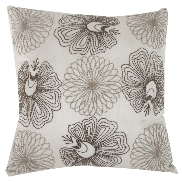 Off-white Sateen Cotton Square Embroidered Pillow