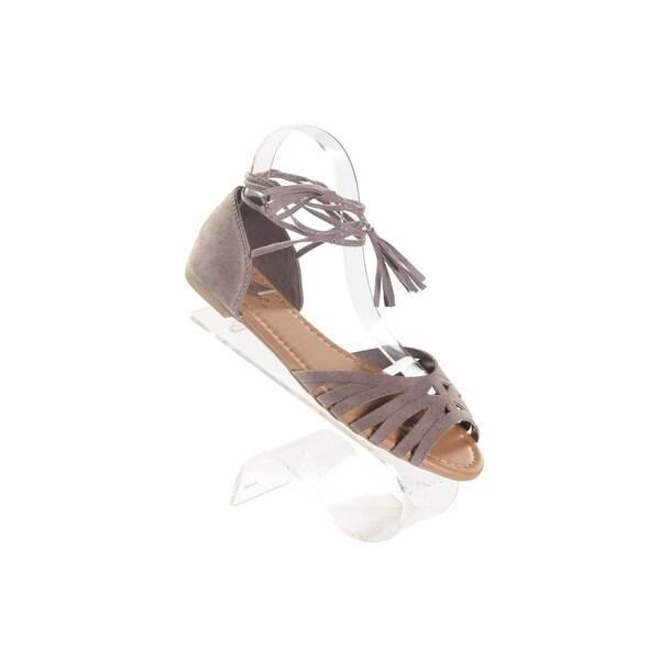 Hadari Women's Peep Toe Taupe Flat with Wrap Around AnkleTassle
