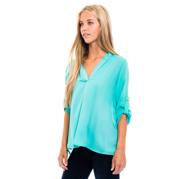 Women's Mint Mandarin Collared Blouse