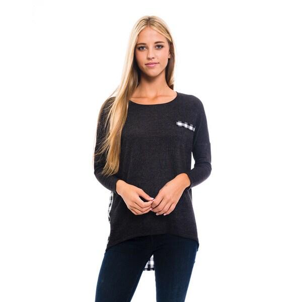 Women's Black Plaid Knit Top