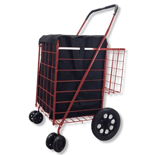 SCF Red Double Basket Black Folding Utility Cart With Liner