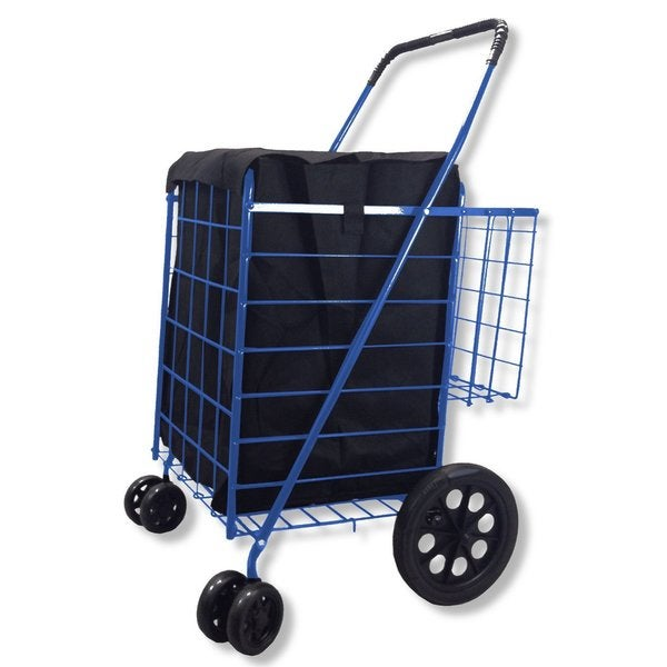 SCF Blue Double Basket Folding Utility Cart With Liner
