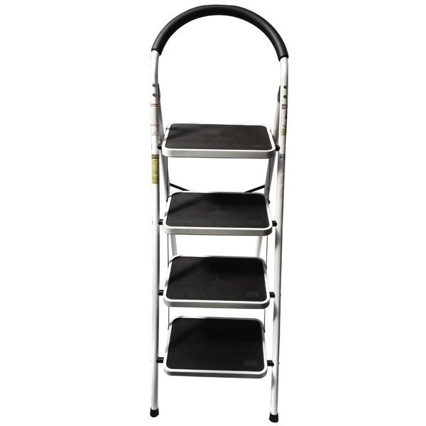 LavoHome Upper Reach Four-step Reinforced-metal Folding Household/Kitchen Step-Ladder Stool - Holds up to 330-pounds