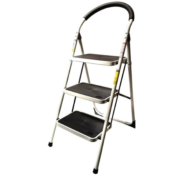 LavoHome Reinforced Metal Folding Step Ladder Stool