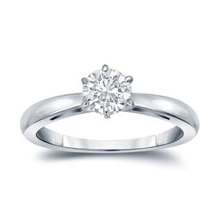 Auriya 14k Gold 1/4ct TDW Round-Cut Diamond 6-Prong Solitaire Engagement Ring (H-I, VS1-VS2)
