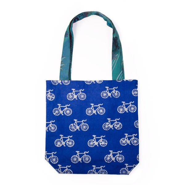 Metallic Bicycle Tote - Cobalt Blue (India)