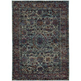 Bordered Floral Traditional Blue/ Purple Rug (3' 3 x 5' 2)