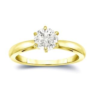 Auriya 14k Gold 1ct TDW Round-Cut Diamond 6-Prong Solitaire Engagement Ring (J-K, I1-I2)