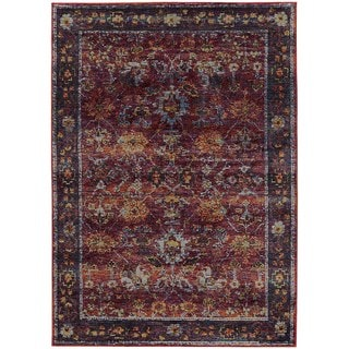 Classically Inspired Persian Red/ Purple Rug (3' 3 x 5' 2)