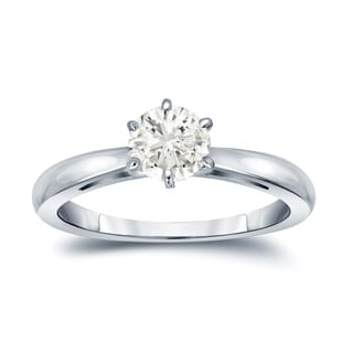 Auriya 14k Gold 1/2ct TDW Round-Cut Diamond 6-Prong Solitaire Engagement Ring (J-K, I1-I2)