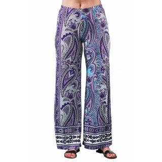 24/7 Comfort Apparel Women's Plus Size Purple Paisley Palazzo Pant