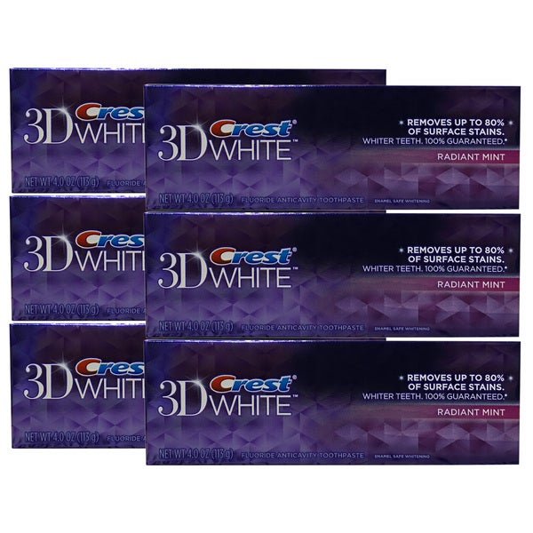 Crest 3D White Radiant Mint Flavor 4-ounce Whitening Toothpaste (Pack of 6)