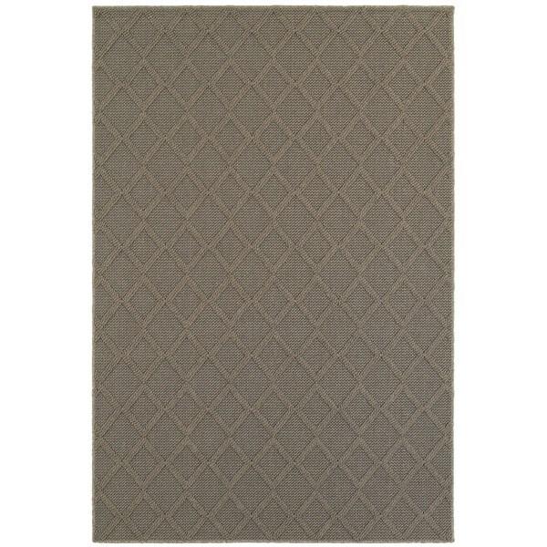 Textured Diamond Lattice Loop Pile Grey/ Grey Indoor/Outdoor Rug (3' 3 x 5')