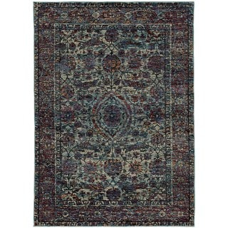 Bordered Floral Traditional Blue/ Purple Rug (6' 7 x 9' 6)