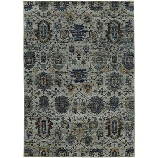 Traditional Ikat Blue/ Navy Rug (5' 3 x 7' 3)