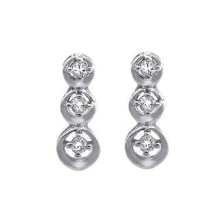 Beverly Hills Charm 10K White Gold 1/10ct TDW Diamond 3-Stone Stud Earrings (H-I, I2-I3)