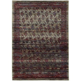 Distressed Border Panel Multi/ Red Rug (6' 7 x 9' 6)