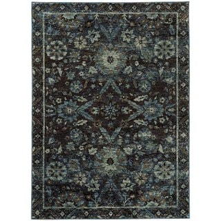 Floral Ikat Traditional Navy/ Blue Rug (5' 3 x 7' 3)