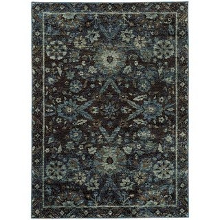 Floral Ikat Traditional Navy/ Blue Rug (6' 7 x 9' 6)