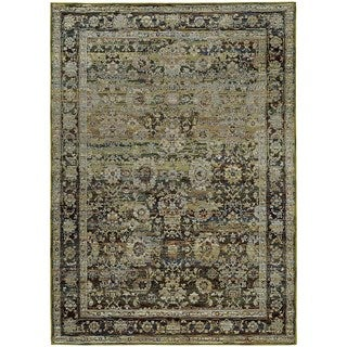 Faded Classic Border Green/ Brown Rug (5' 3 x 7' 3)