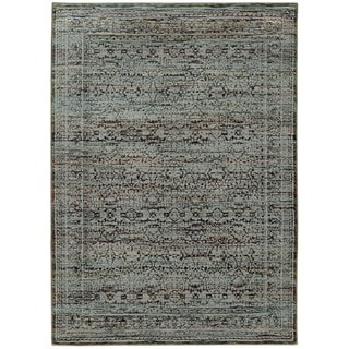 Antiqued Traditional Blue/ Purple Rug (5' 3 x 7' 3)