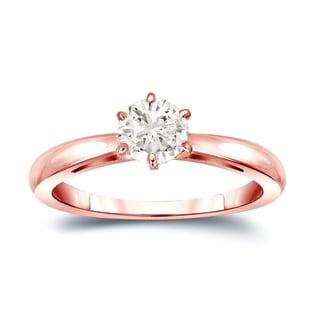 Auriya 14k Gold 1/4ct TDW Round-Cut Diamond 6-Prong Solitaire Engagement Ring (J-K, I1-I2)