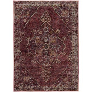 Antiqued Traditional Medallion Red/ Gold Rug (6' 7 x 9' 6)