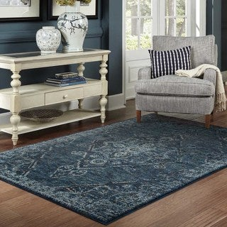 Antiqued Traditional Medallion Blue/ Blue Rug (5' 3 x 7' 3)