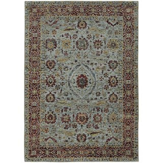 Vintage Dreams Traditional Blue/ Red Rug (5' 3 x 7' 3)