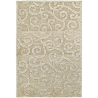 Lush Scrolls Sand/ Beige Rug (6' 7 x 9' 6)