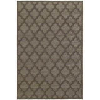 Scalloped Lattice Luxury Brown/ Grey Rug (6' 7 x 9' 6)
