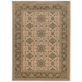 Traditional Border Beige/ Sand Rug (6' 7 x 9' 6)